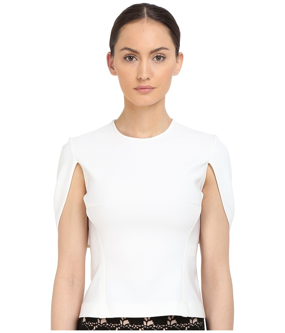 YIGAL AZROU L - Mechanical Stretch Cape Top (White) Women's Short Sleeve Pullover