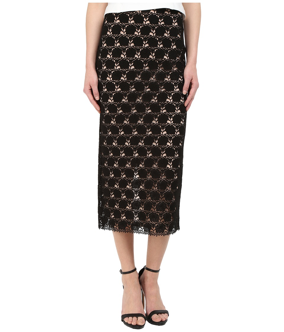 YIGAL AZROU L - Circle Lace Midi Skirt (Black) Women's Skirt
