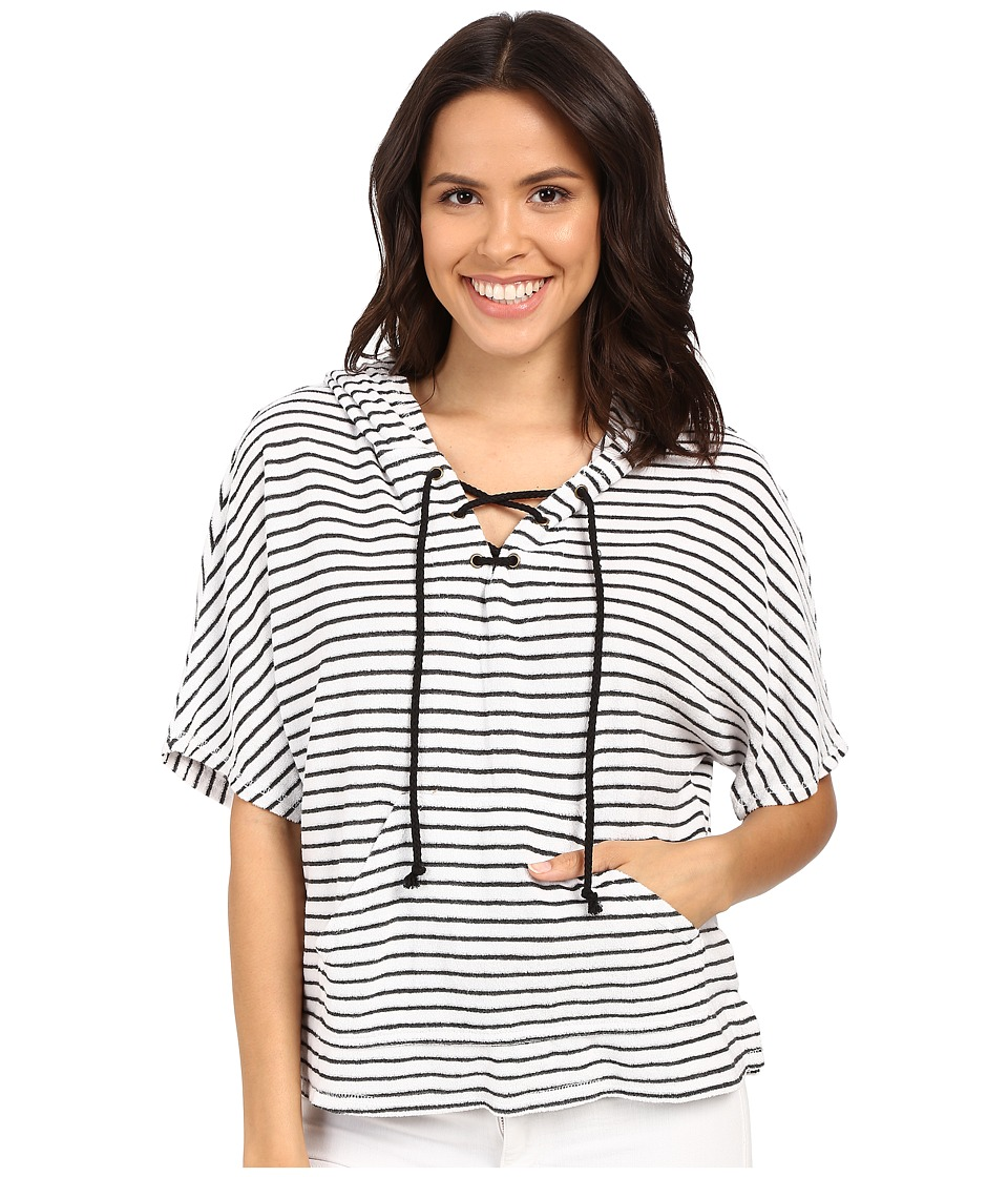 Michael Stars Playa Stripe Lace-Up Baja Top (White) Women's Short Sleeve Pullover