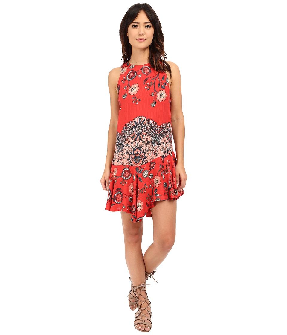 Free People - Printed Dobby Dot Flouncy Hem Slip (Vintage Red Combo) Women's Dress