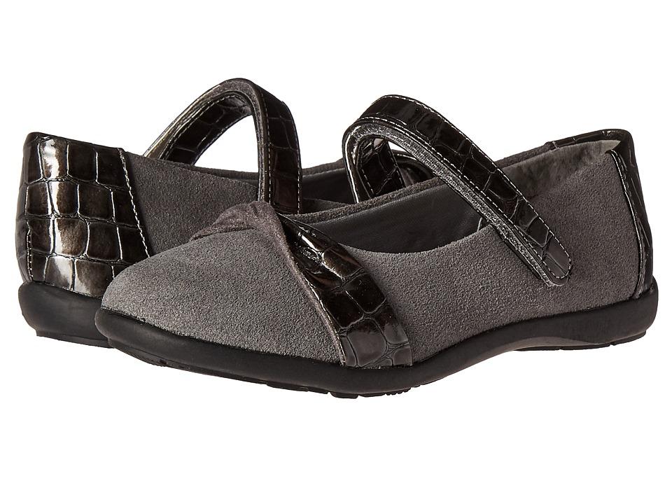 Jumping Jacks Kids - Balleto - Twist (Toddler/Little Kid/Big Kid) (Pewter Suede/Croco) Girls Shoes