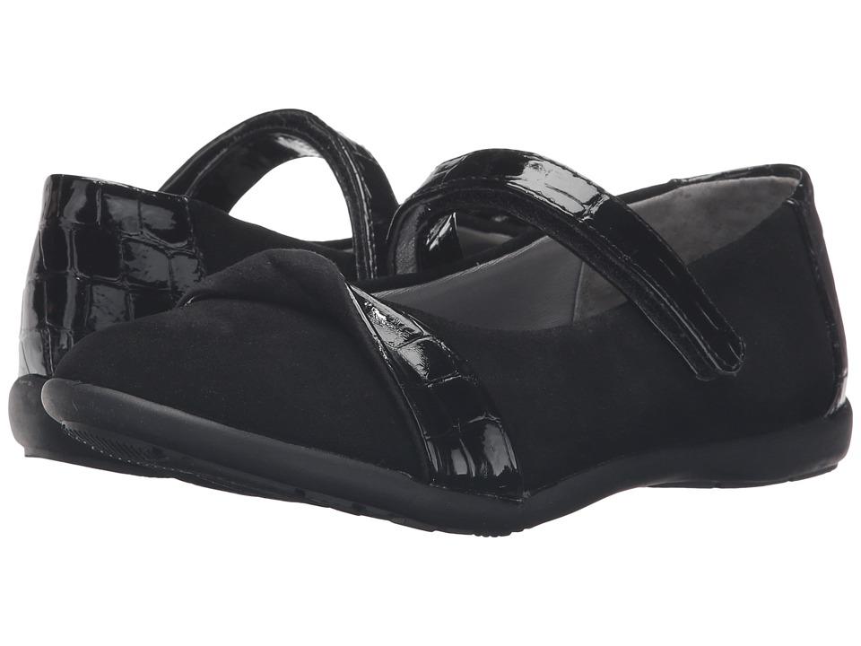 Jumping Jacks Kids - Balleto - Twist (Toddler/Little Kid/Big Kid) (Black Suede/Croco) Girls Shoes