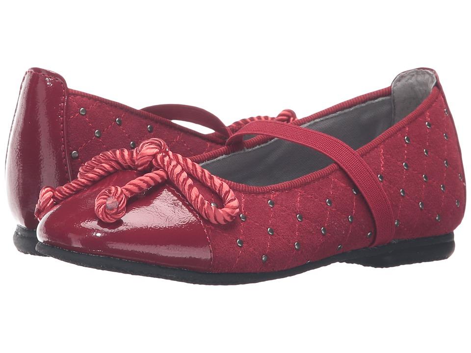 Jumping Jacks Kids - Balleto - Katrina (Toddler/Little Kid/Big Kid) (Cherry Suede/Krinkle) Girls Shoes