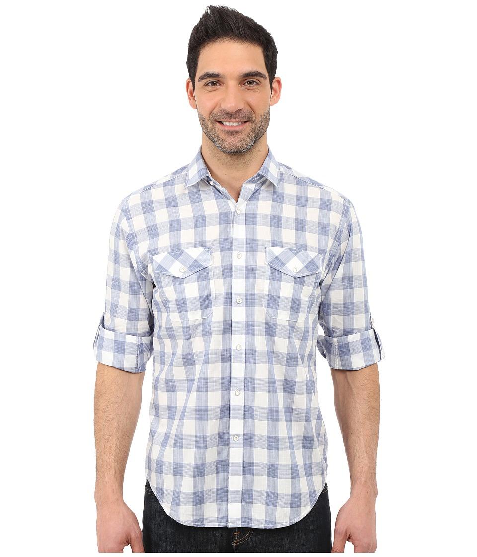 James Campbell - Kelley Plaid Long Sleeve Woven (Blue) Men's Long Sleeve Button Up
