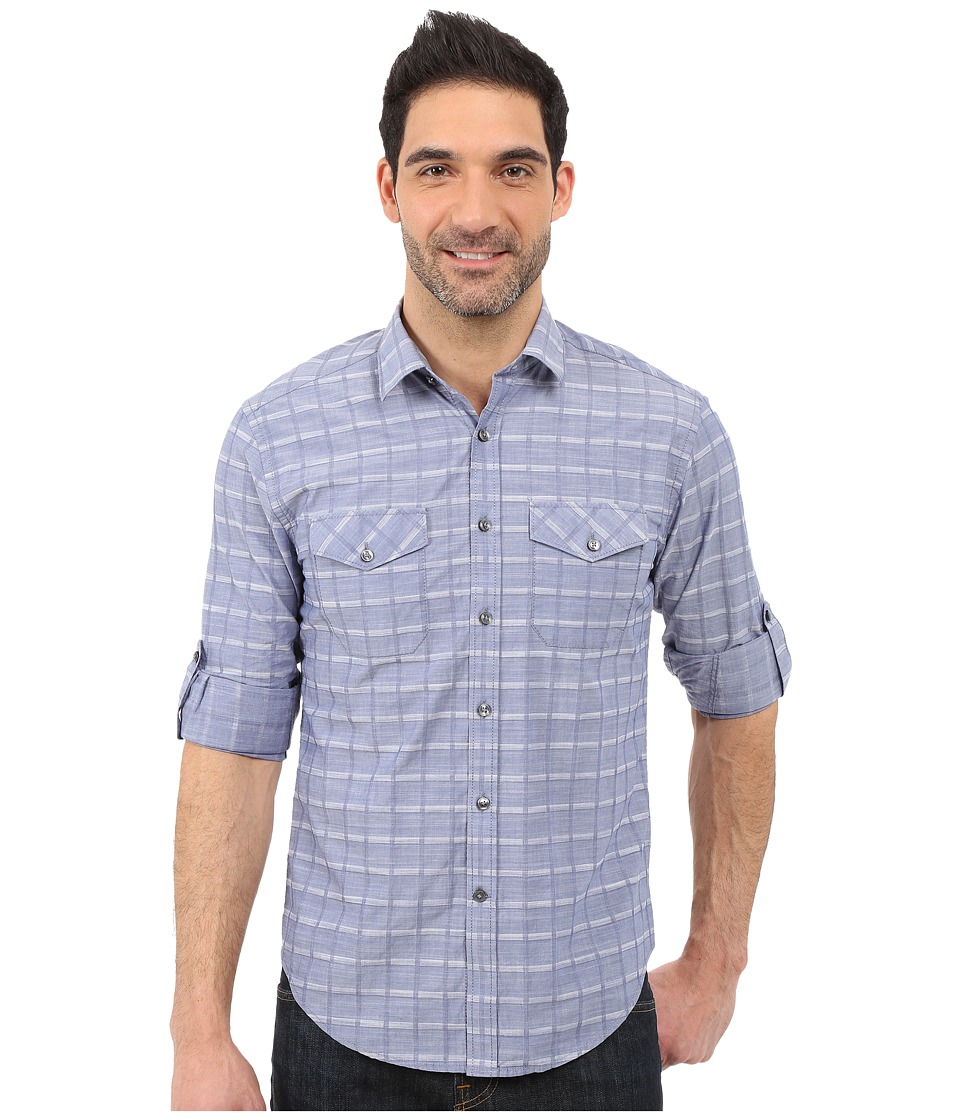 James Campbell - Serif Plaid Long Sleeve Woven (Denim) Men's Long Sleeve Button Up