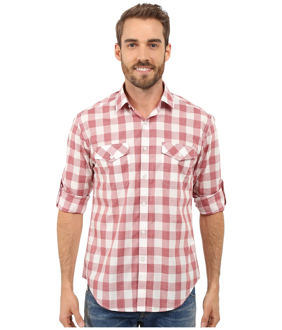 James Campbell - Kelley Plaid Long Sleeve Woven (Red) Men's Long Sleeve Button Up
