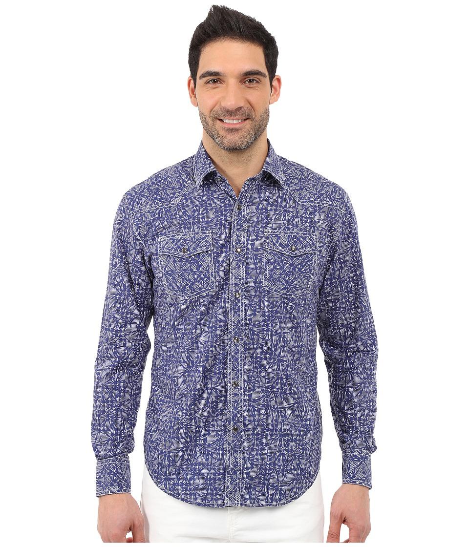 James Campbell - Resin Long Sleeve Woven (Blue) Men's Long Sleeve Button Up