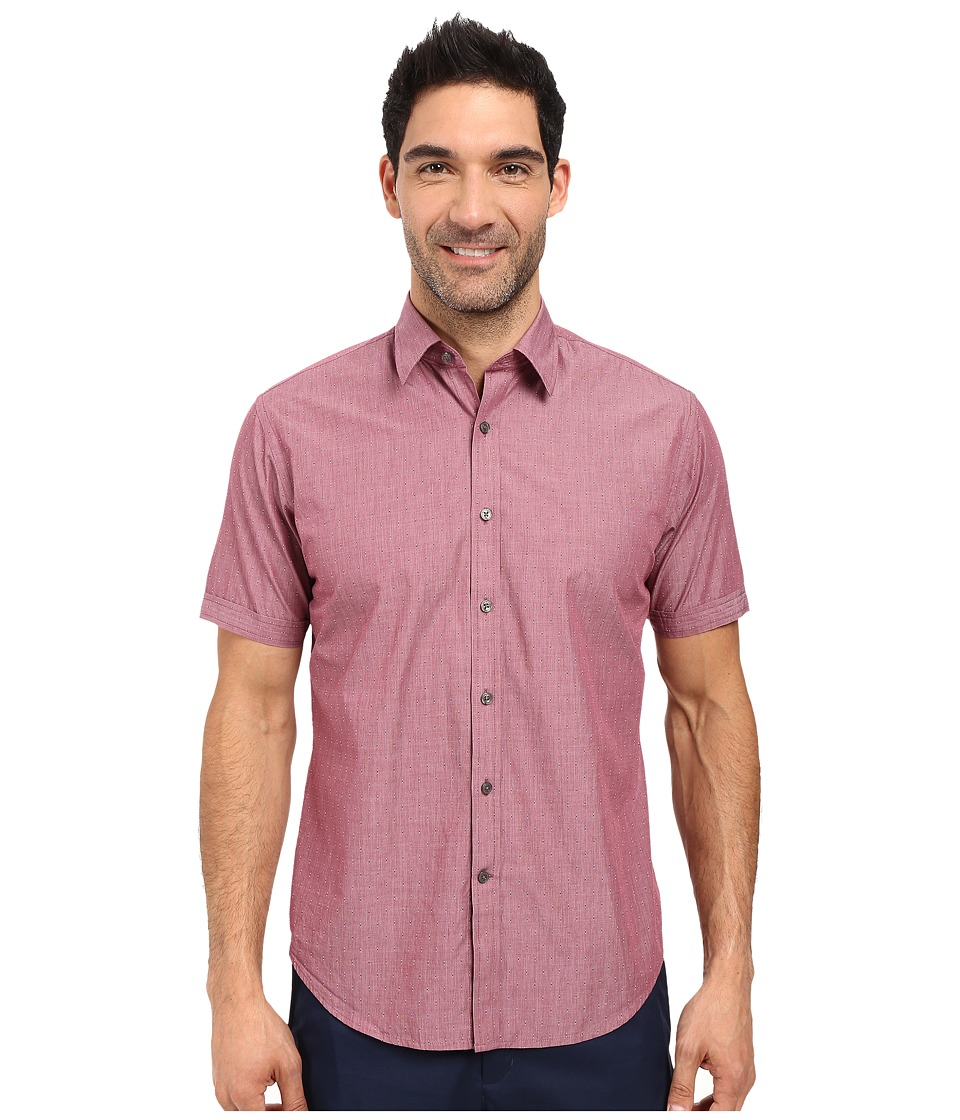 James Campbell - Liano Short Sleeve Woven (Wine) Men's Short Sleeve Button Up