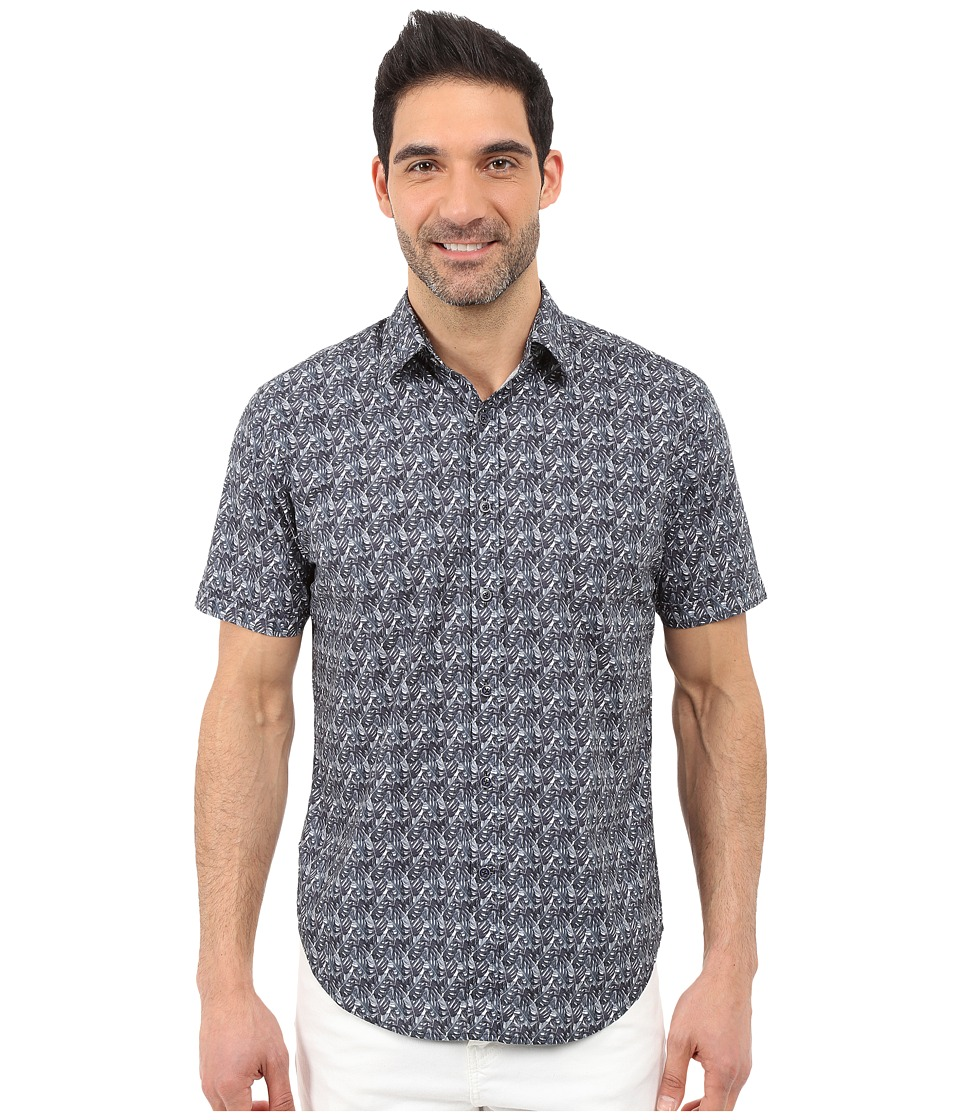 James Campbell - Dickens Short Sleeve Woven (Black) Men's Short Sleeve Button Up