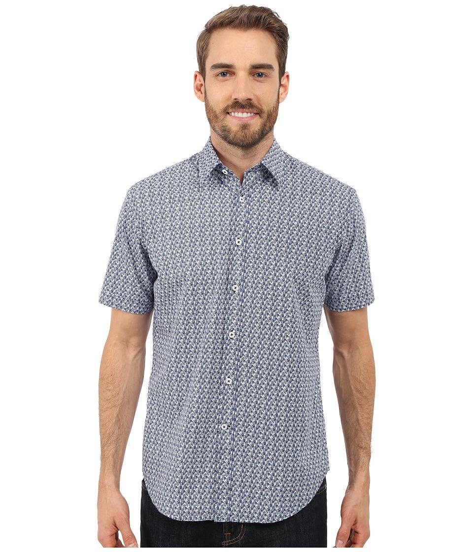 James Campbell - Miller Short Sleeve Woven (Blue) Men's Short Sleeve Button Up
