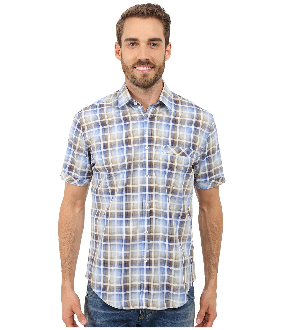 James Campbell - Chimala Plaid Short Sleeve Woven (Brown) Men's Short Sleeve Button Up