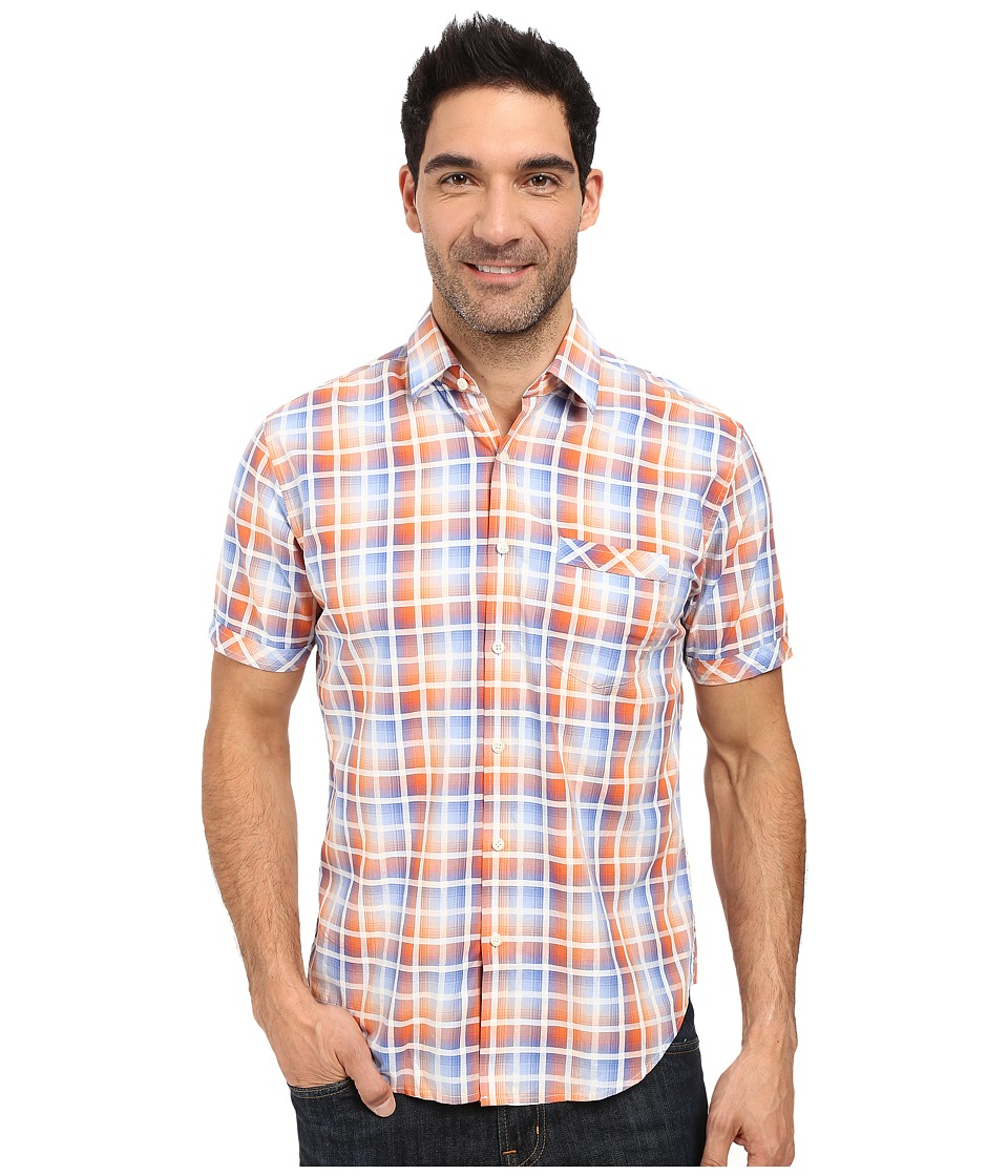 James Campbell - Chimala Plaid Short Sleeve Woven (Orange) Men's Short Sleeve Button Up