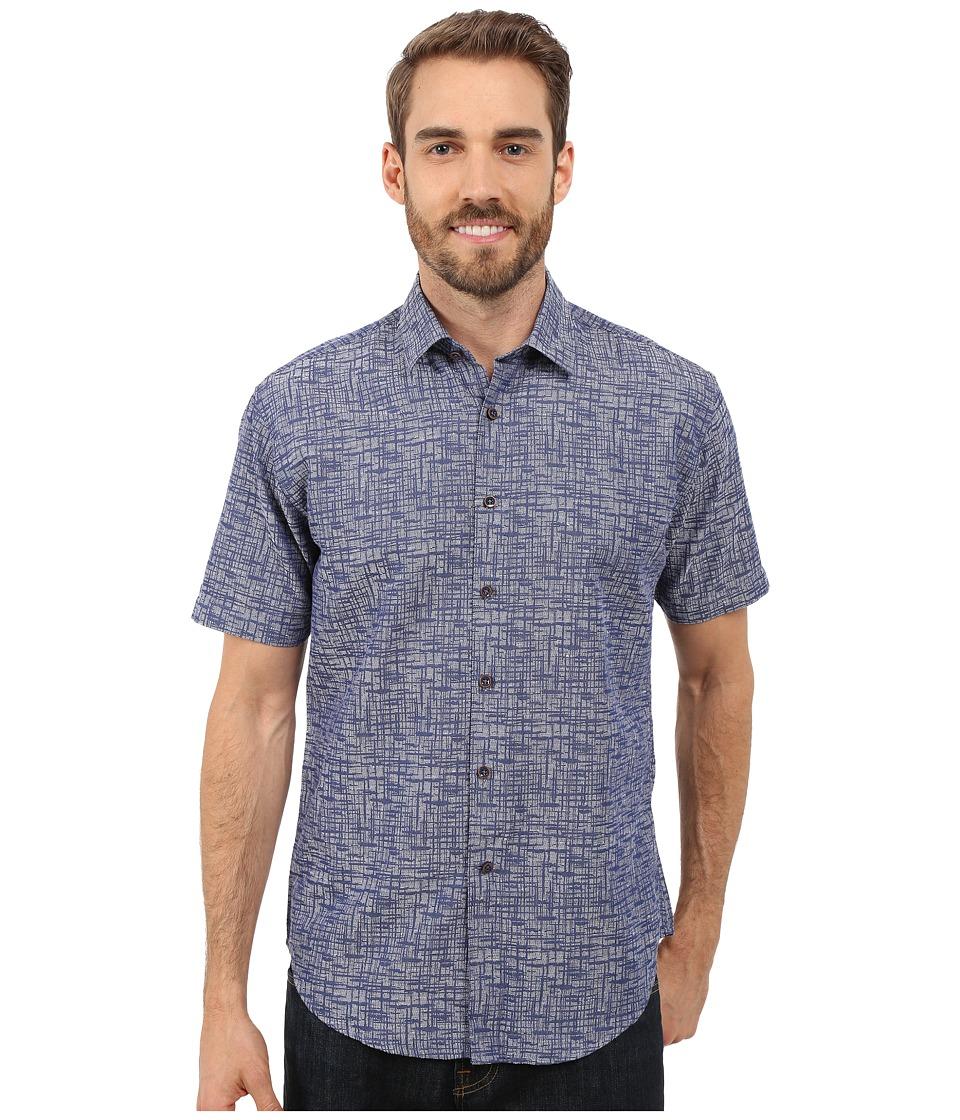 James Campbell - Boca Short Sleeve Woven (Ink) Men's Short Sleeve Button Up