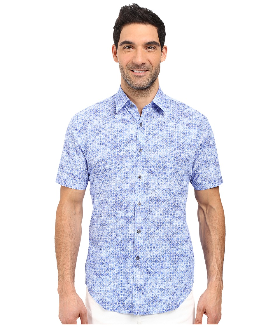 James Campbell - Atlas Short Sleeve Woven (Blue) Men's Short Sleeve Button Up