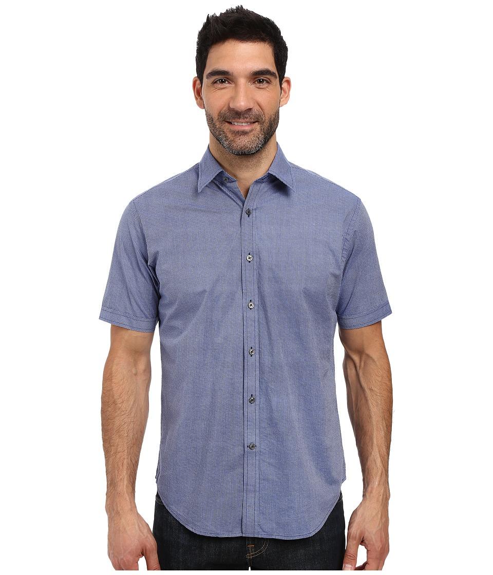 James Campbell - Zane Short Sleeve Woven (Blue) Men's Short Sleeve Button Up