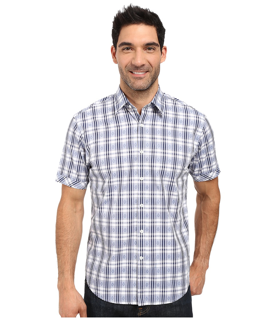 James Campbell - Donegal Plaid Short Sleeve Woven (Navy) Men's Short Sleeve Button Up