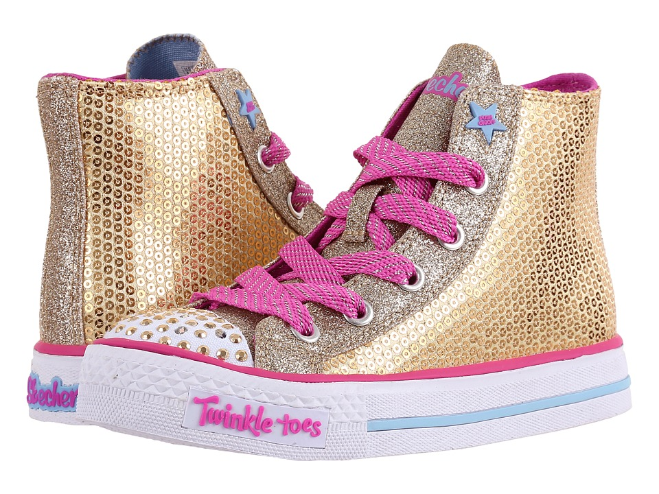 SKECHERS KIDS - Bravo Bling 10581L Lights (Little Kid/Big Kid) (Gold/Hot Pink/Multi) Girl's Shoes