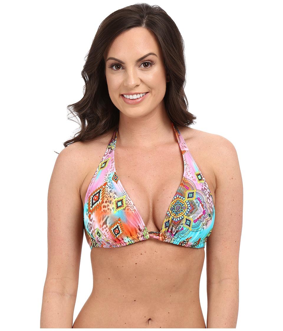 Luli Fama - Boho Chic D/DD Cup Triangle Halter Top (Multi) Women's Swimwear