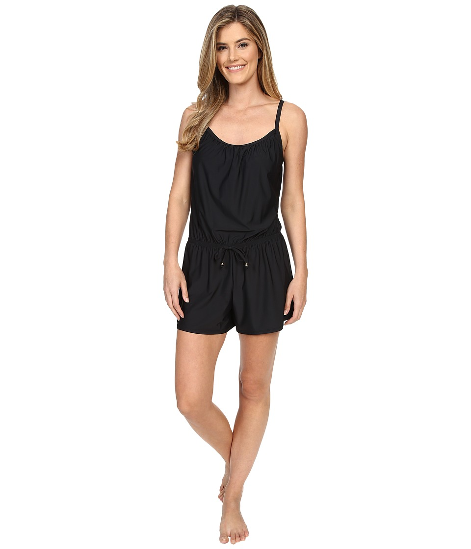 Athena - Removable Soft Cup Romper (Black) Women's Swimsuits One Piece