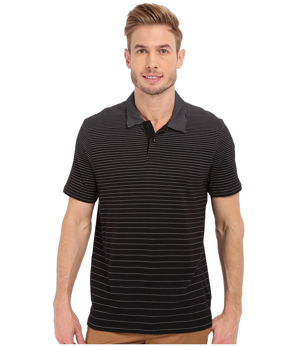 Perry Ellis - Jacquard Stripe Polo (Black) Men's Short Sleeve Knit