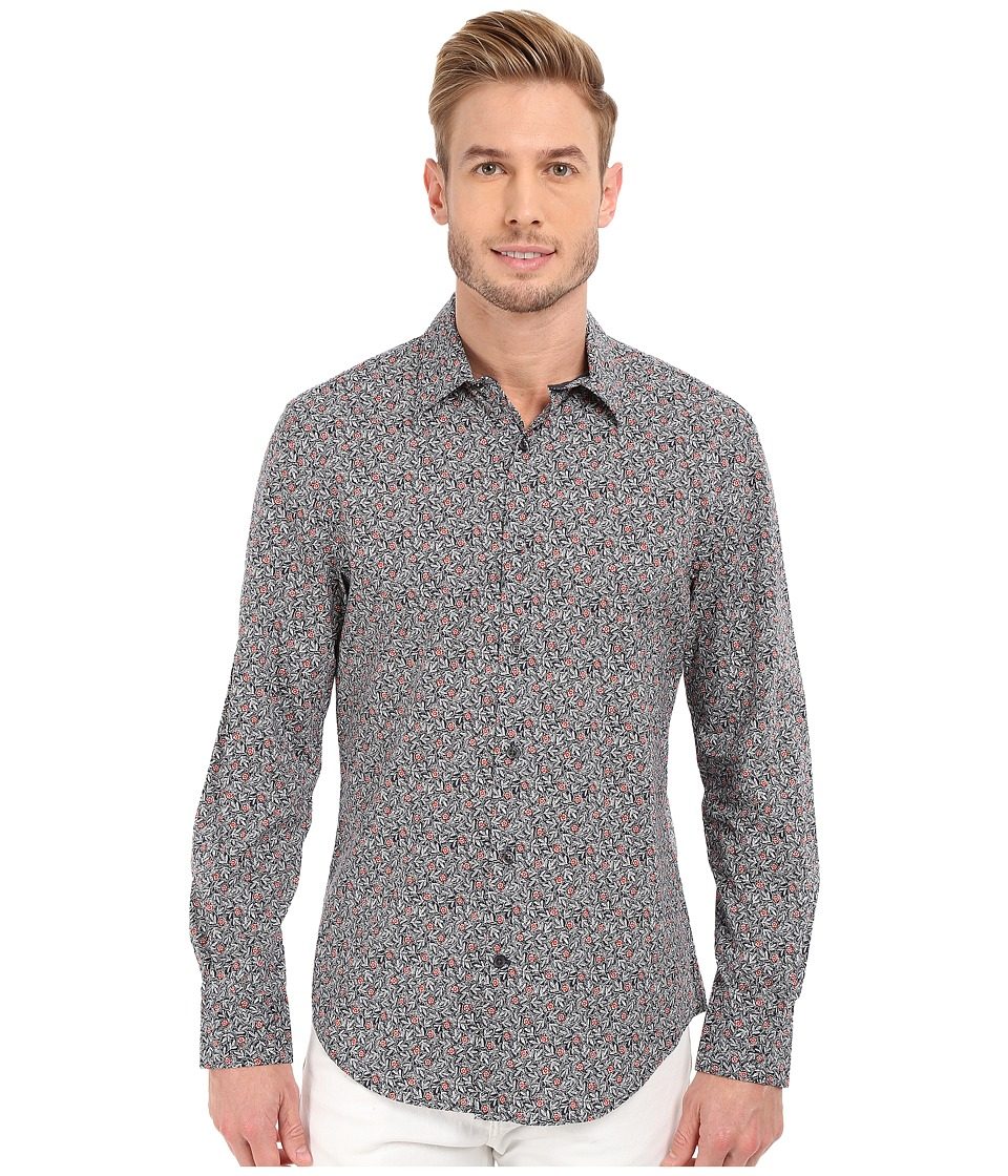 Perry Ellis - Exclusive Large Floral Print Shirt (Eclipse) Men's Long Sleeve Button Up