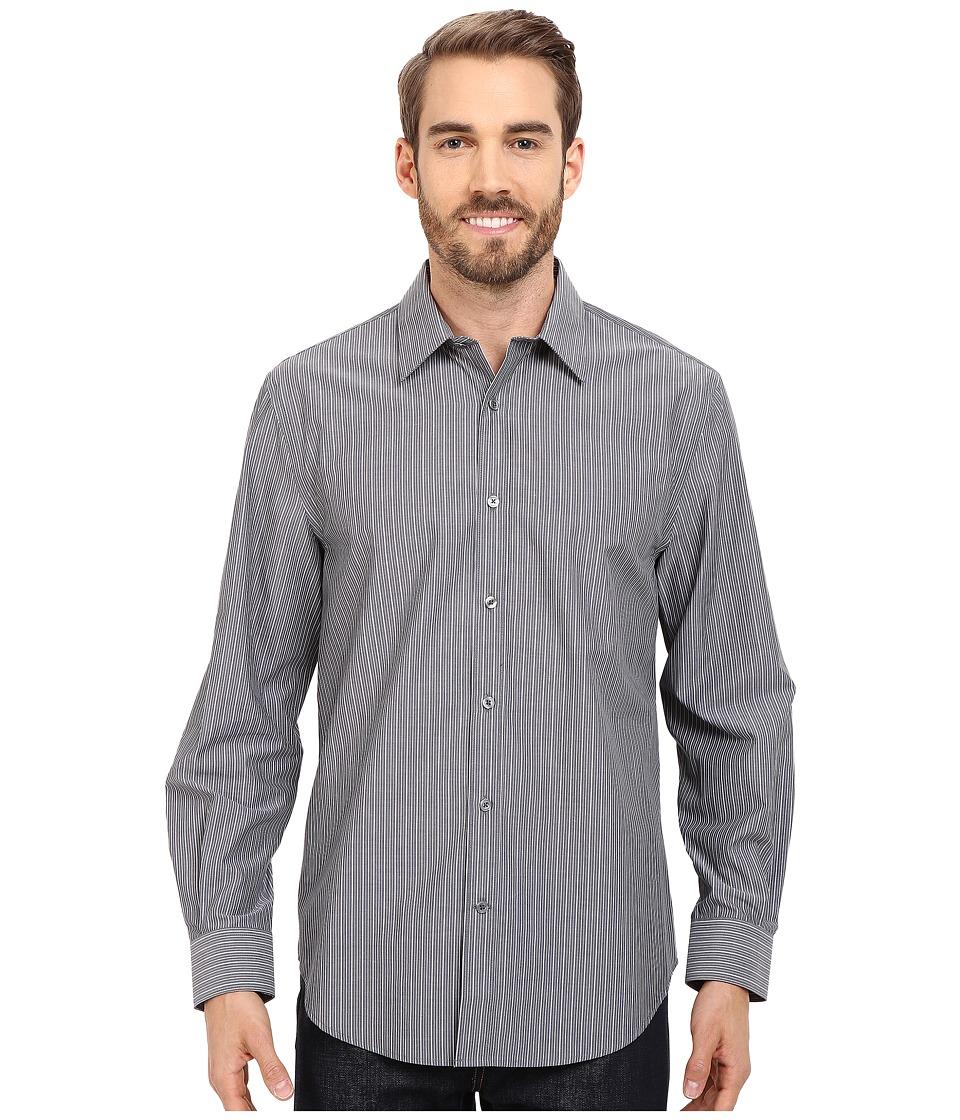Perry Ellis - Non-Iron Chambray Stripe Shirt (Eclipse) Men's Clothing