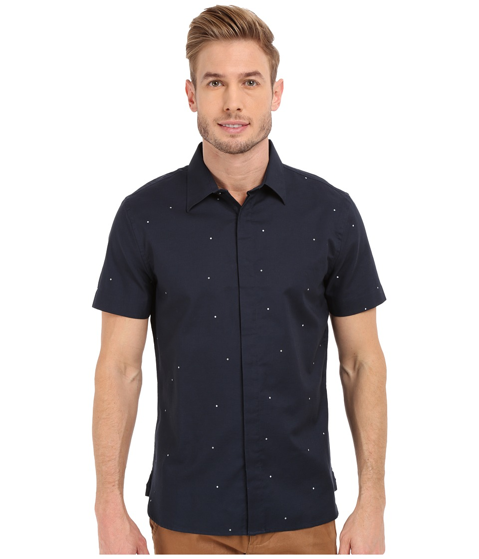 Perry Ellis - Exclusive Pin Dot on Oxford Fabric Shirt (Eclipse) Men's Short Sleeve Button Up