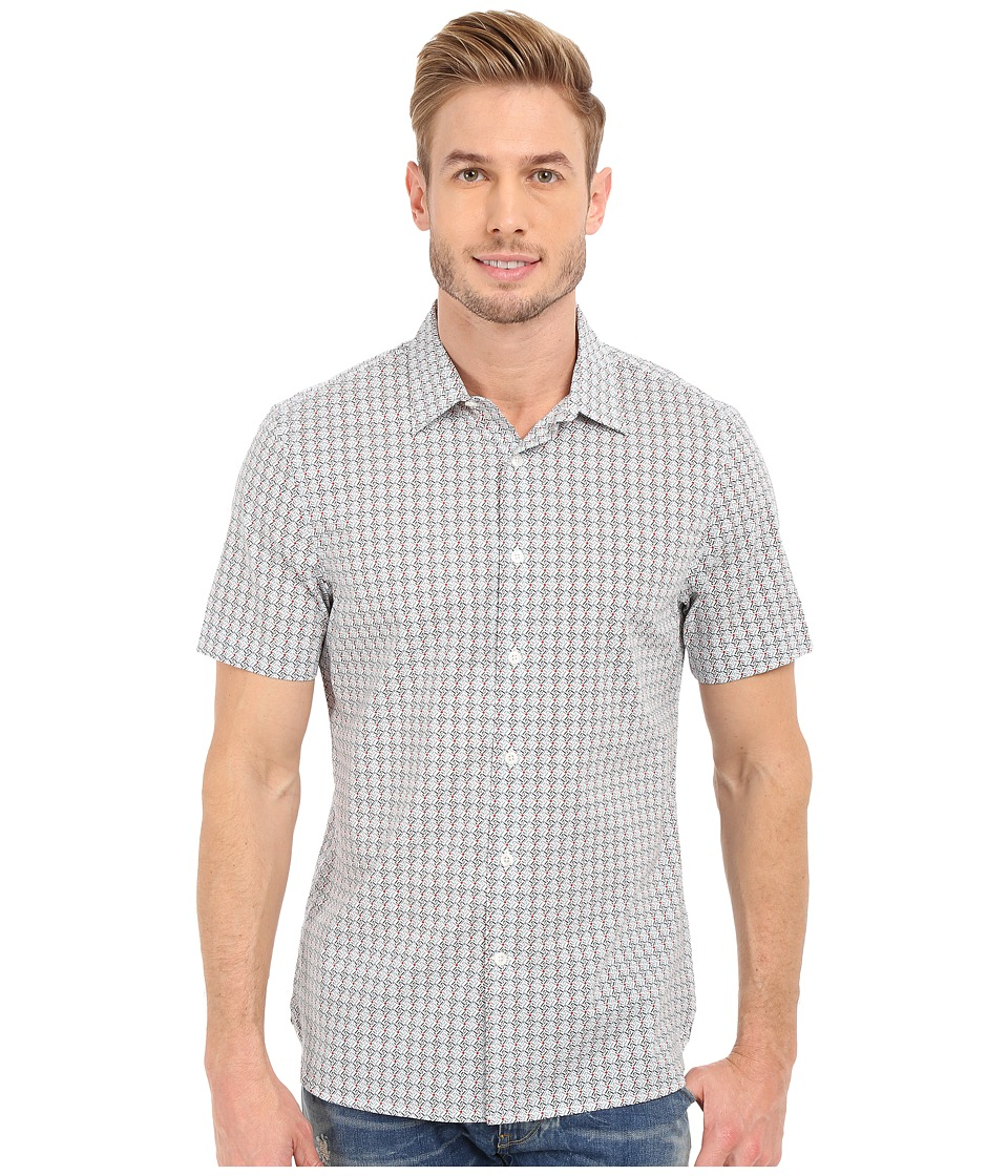 Perry Ellis - Slim Fit Multicolor Mini Diamond Print Shirt (Bright White) Men's Short Sleeve Button Up
