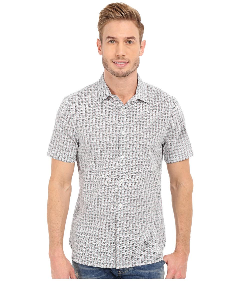 Perry Ellis - Slim Fit Multicolor Mini Diamond Print Shirt (Bright White) Men's Short Sleeve Button Up