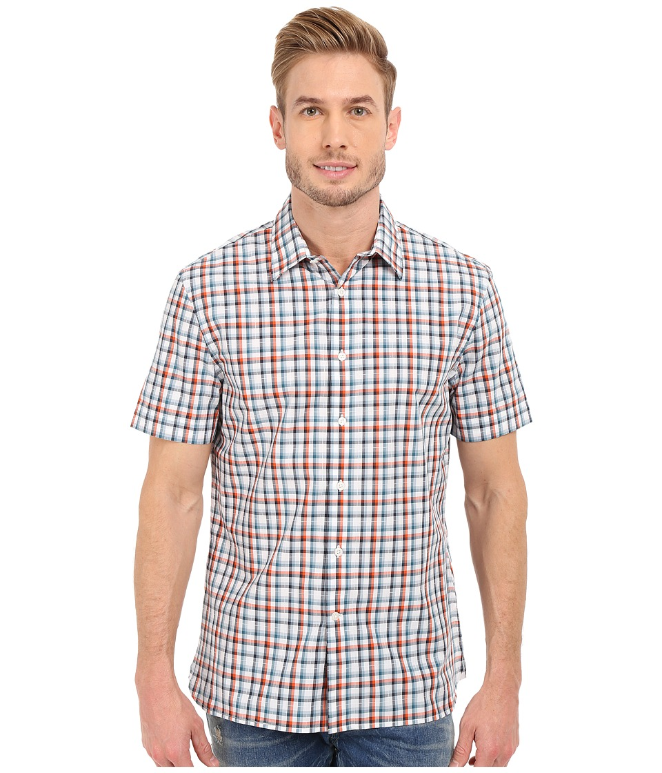 Perry Ellis - Short Sleeve Multi Color Pattern Shirt (Bright White) Men's Clothing