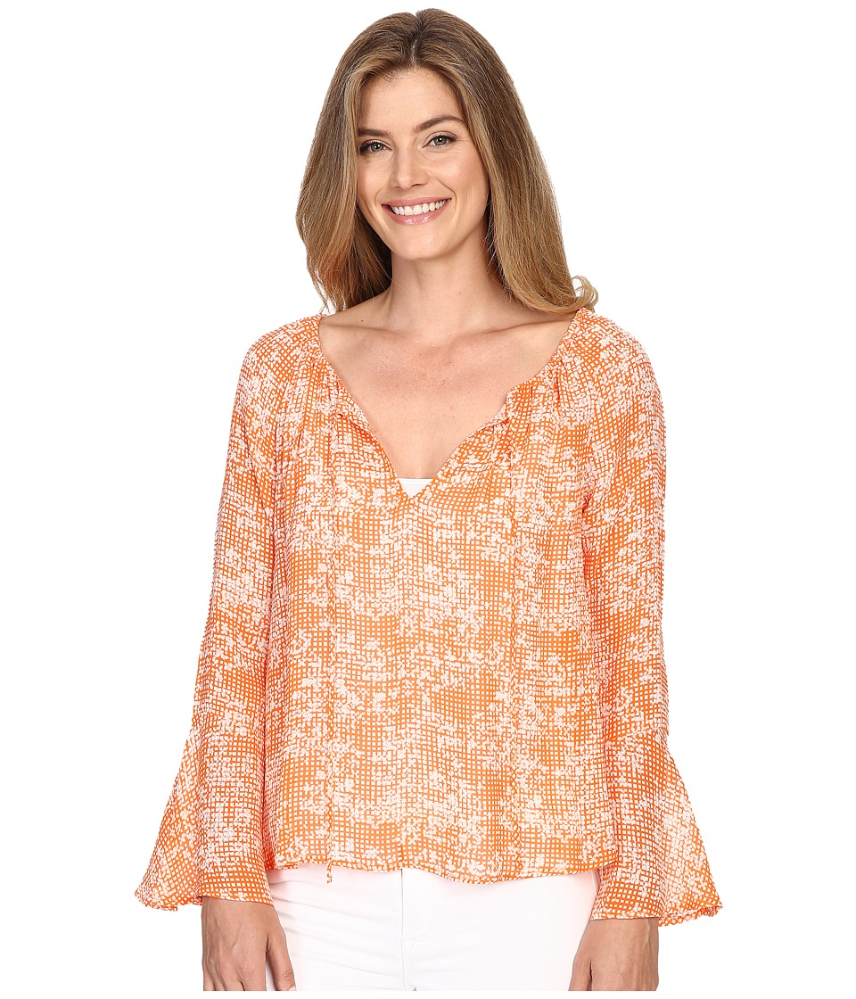 Sanctuary - Lyric Boho Top (Orange Gingham) Women's Clothing