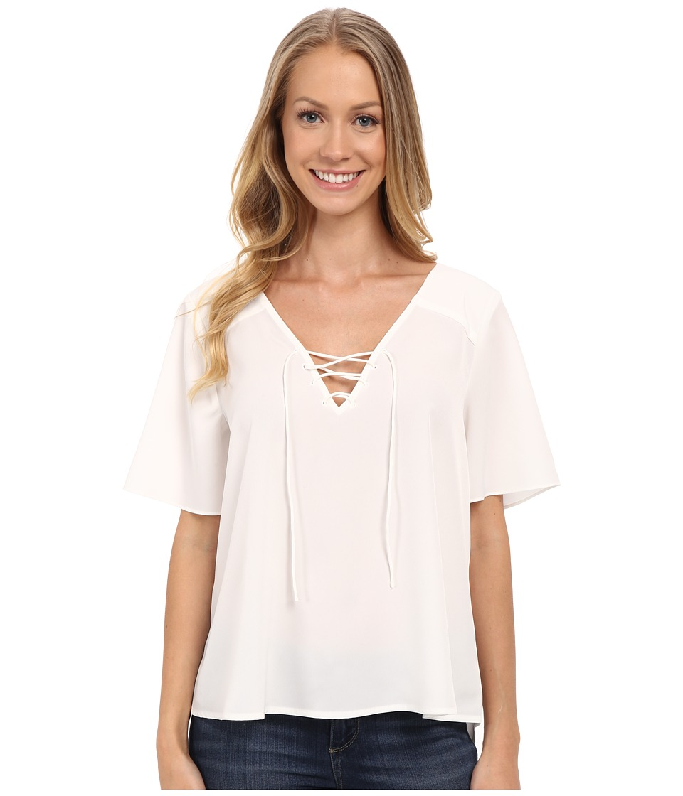 Sanctuary - Kate Lace-Up Top (White) Women's Clothing