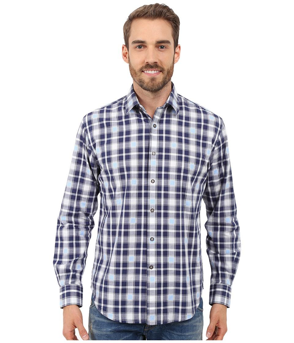 James Campbell - Zond Long Sleeve Woven Shirt (Navy) Men's Long Sleeve Button Up