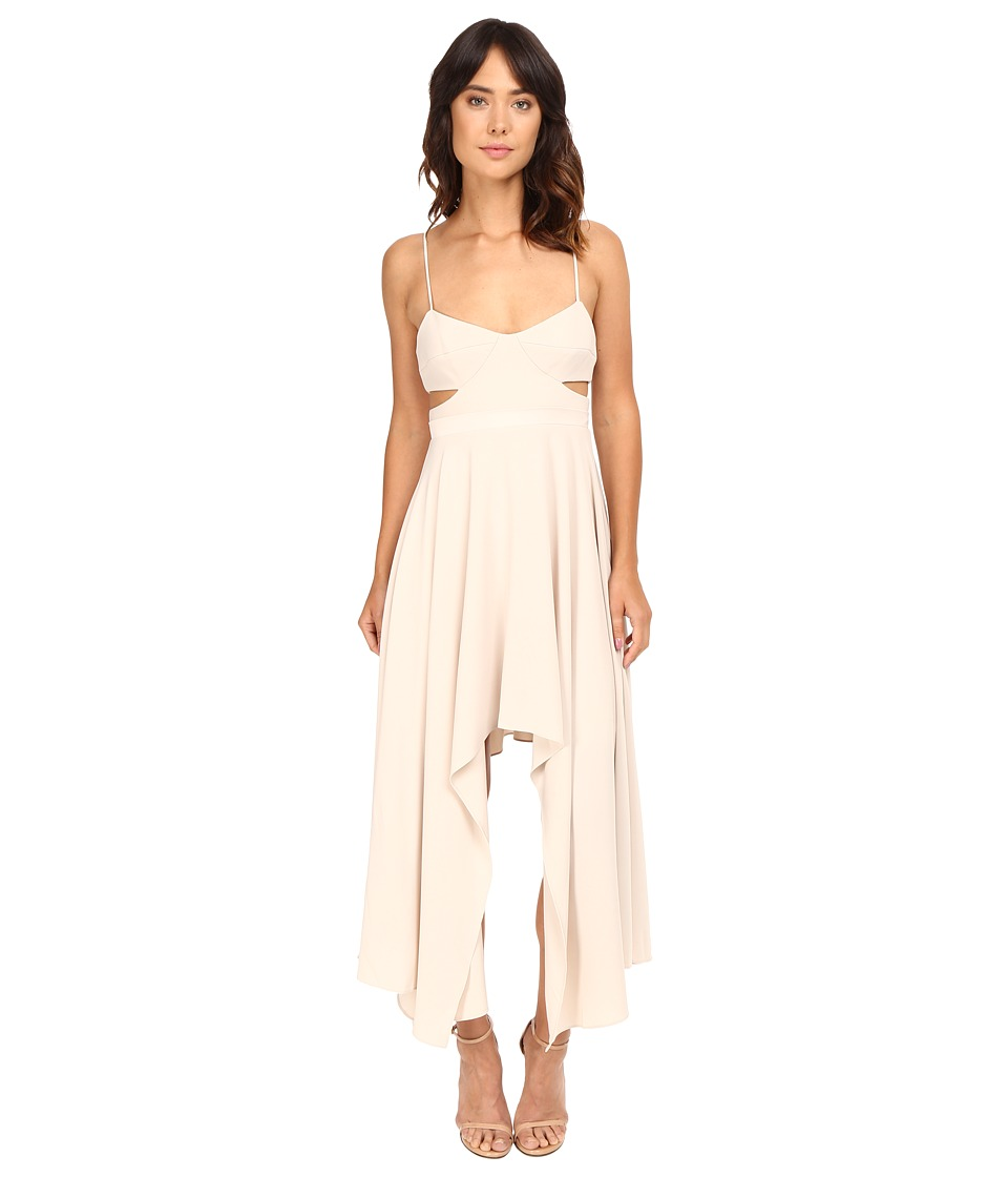 Halston Heritage - Scoop Neck Dress with High-Low Hem (Oyster) Women's Dress