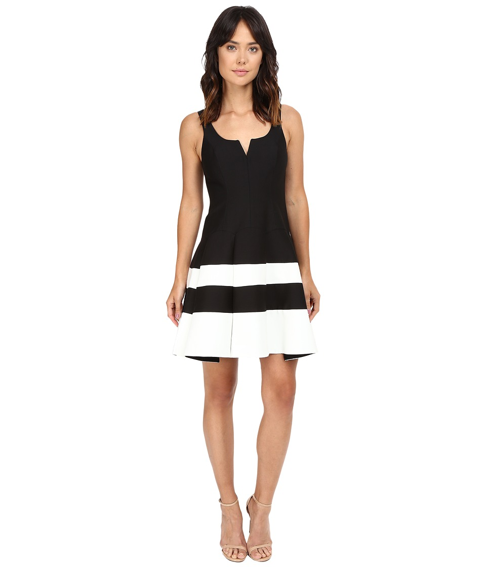 Halston Heritage - Round Neck Color Blocked Structured Dress (Black/Chalk) Women's Dress