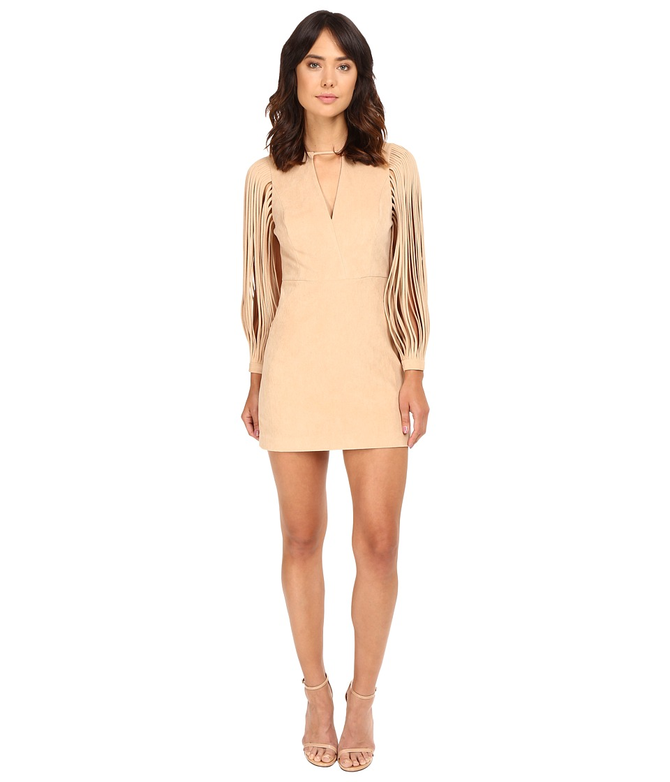 Halston Heritage - Strappy Long Sleeve Ultrasuede Dress (Sand) Women's Dress