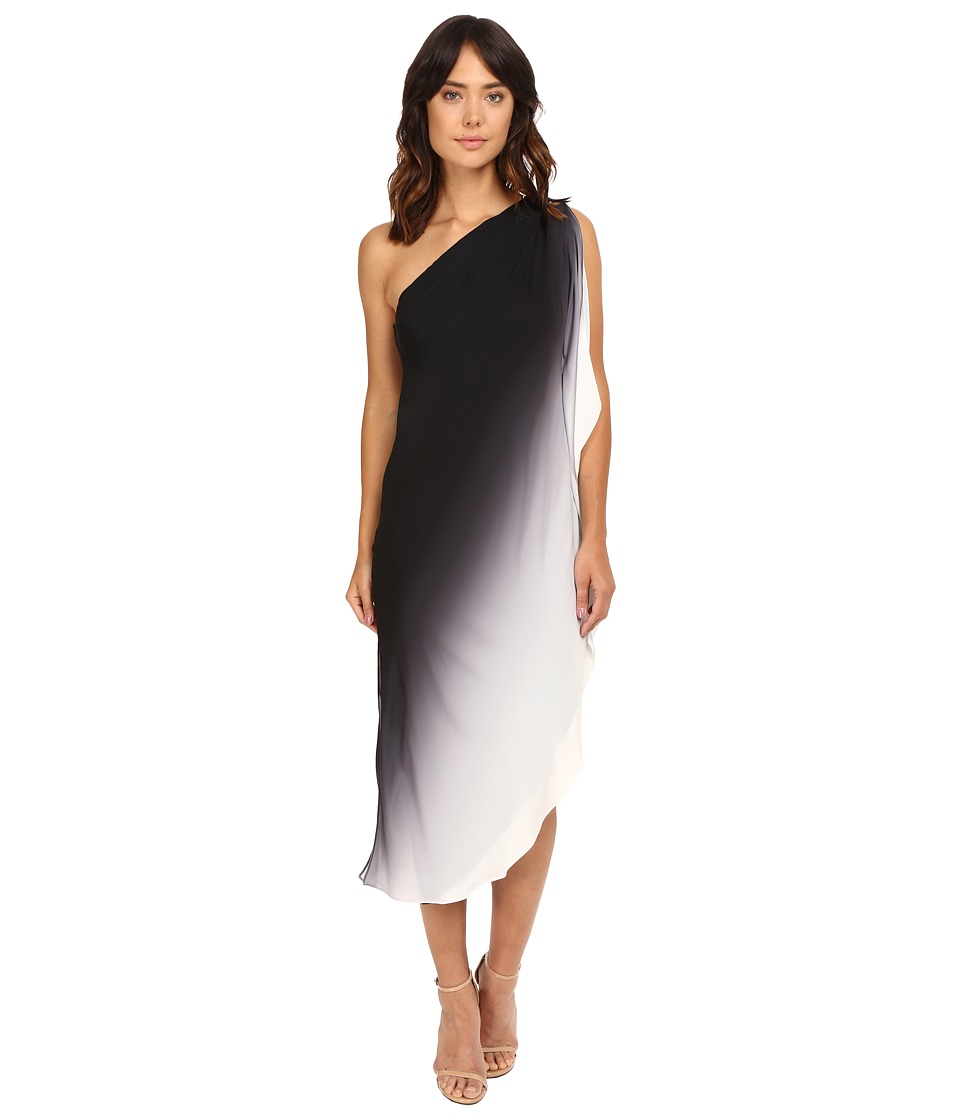 Halston Heritage - One Shoulder Flowy Ombre Dress (Black/Chalk) Women's Dress
