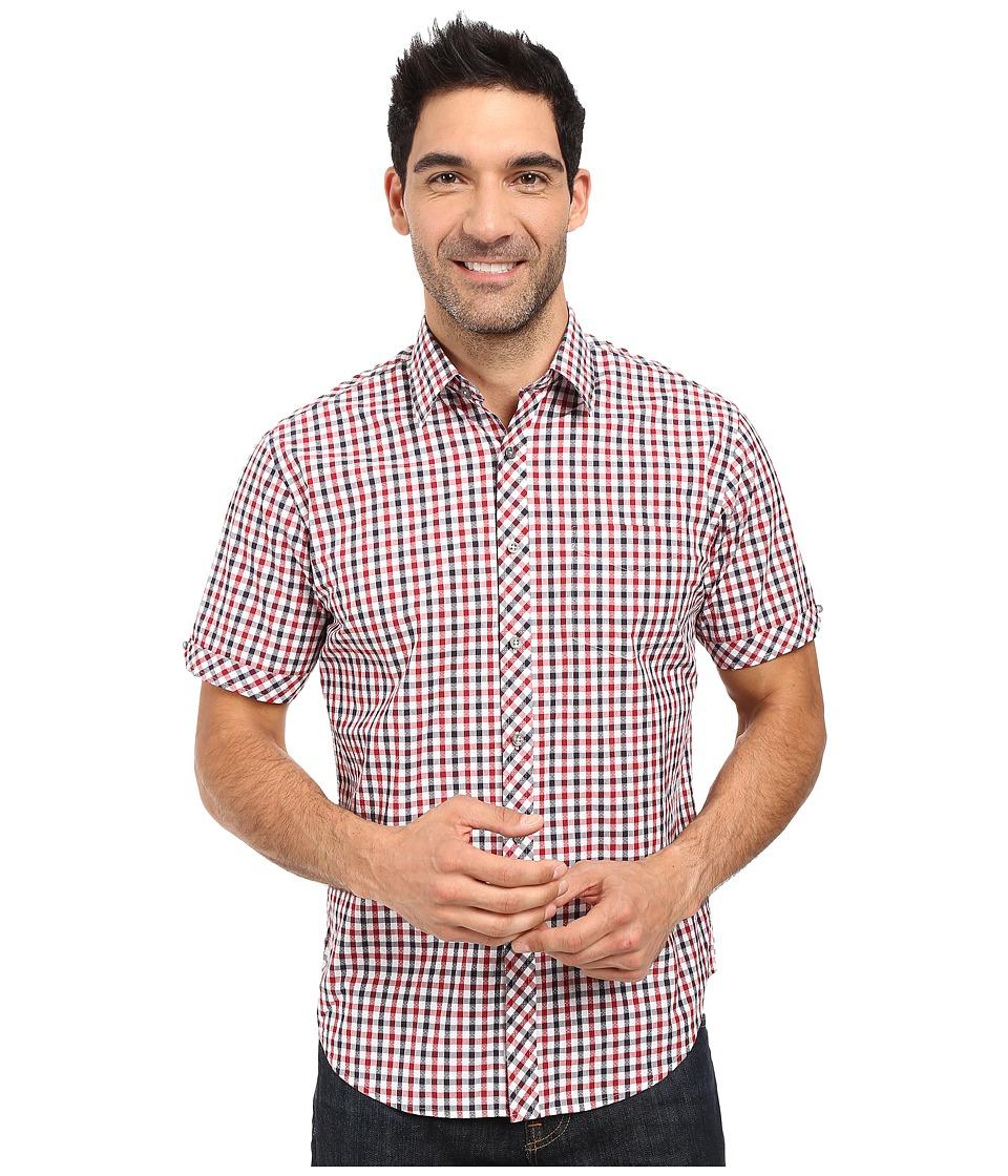 James Campbell - Baldy Short Sleeve Woven (Red) Men's Short Sleeve Button Up