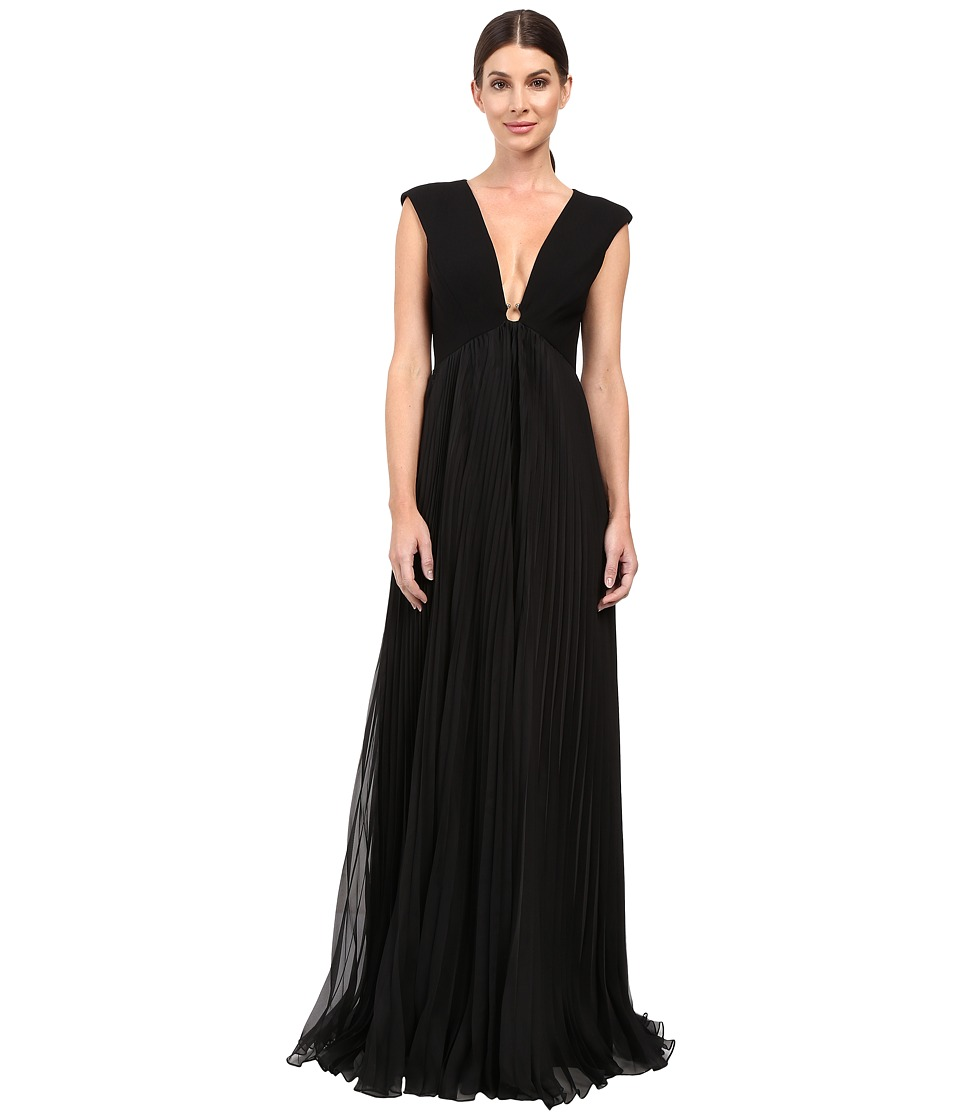 Halston Heritage - Cap Sleeve Deep V-Neck Gown with Pleated Skirt (Black) Women's Dress