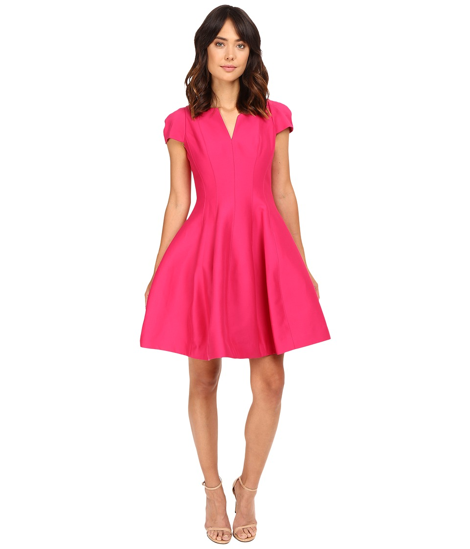 Halston Heritage - Short Sleeve Notch Neck Dress with Tulip Skirt (Cerise) Women's Dress