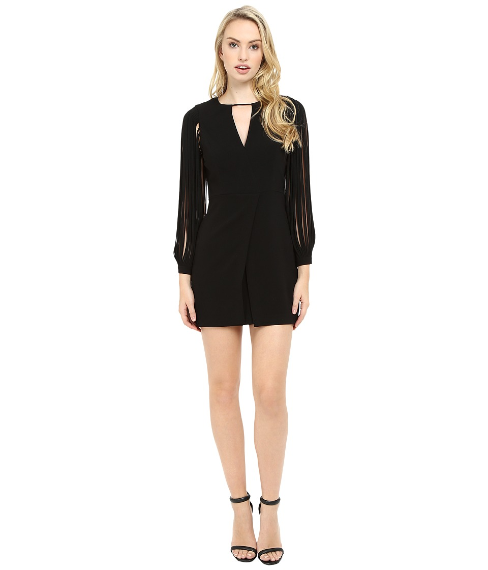 Halston Heritage - Multistrap Long Sleeve Crepe Dress (Black) Women's Dress