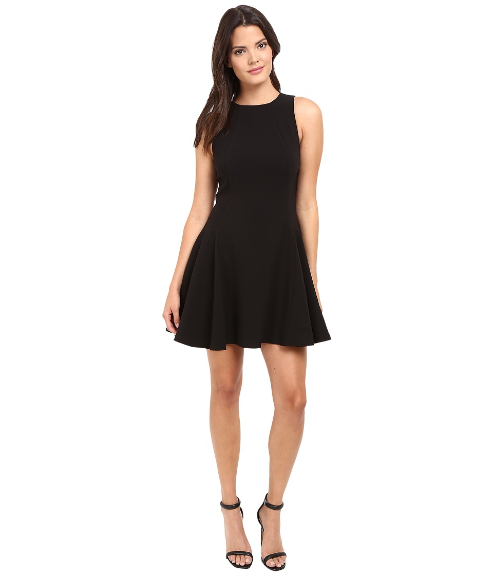 Halston Heritage - Round Neck Double Face Crepe Dress (Black) Women's Dress