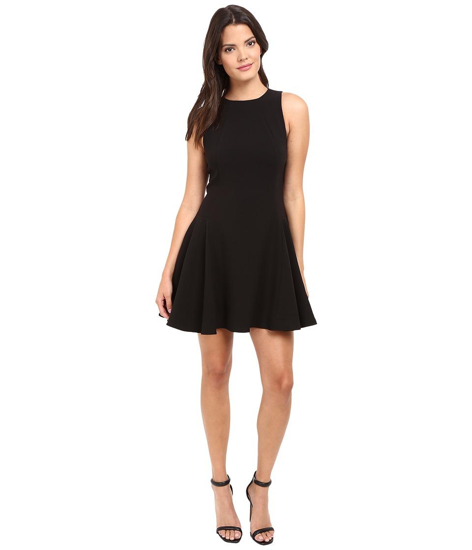 Halston Heritage Round Neck Double Face Crepe Dress (Black) Women