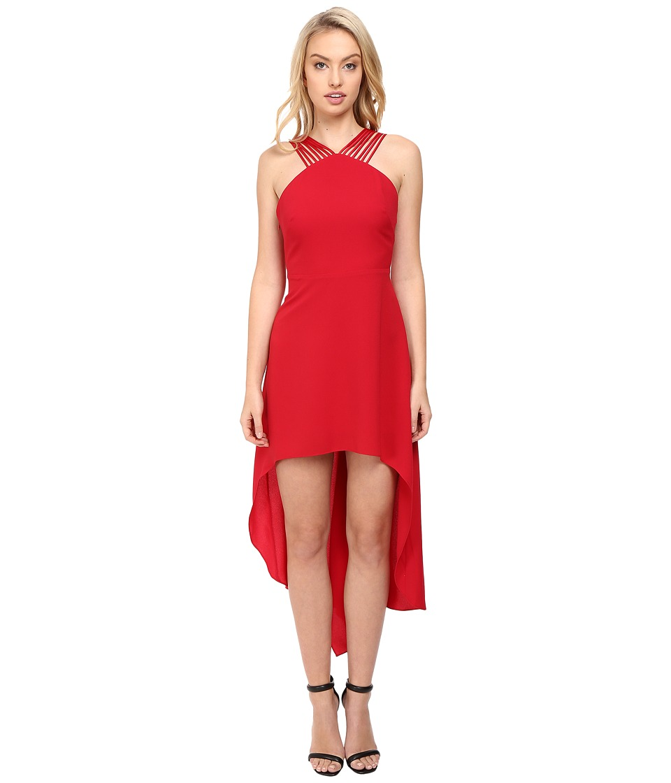 Halston Heritage - Multistrap High-Low Dress (Carmine) Women's Dress
