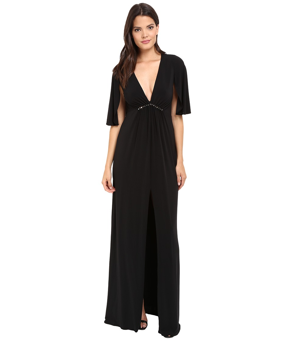 Halston Heritage - Short Flounce V-Neck Jersey Gown (Black) Women's Dress