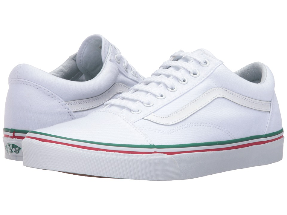 Vans - Old Skool 2016 Games ((Summer 2016) True White/Green/Red) Skate Shoes