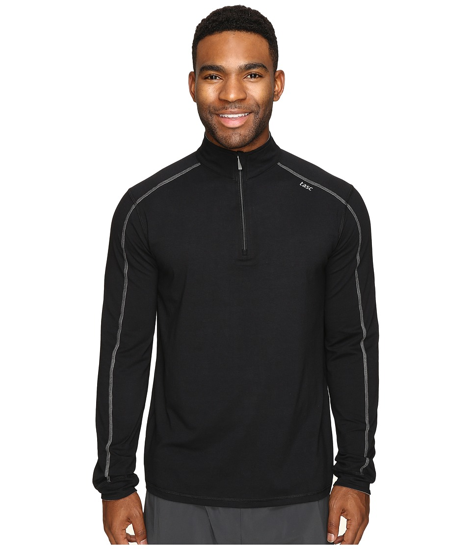 tasc Performance - Core 1/4 Zip (Black/Heather Gray) Men's Long Sleeve Pullover