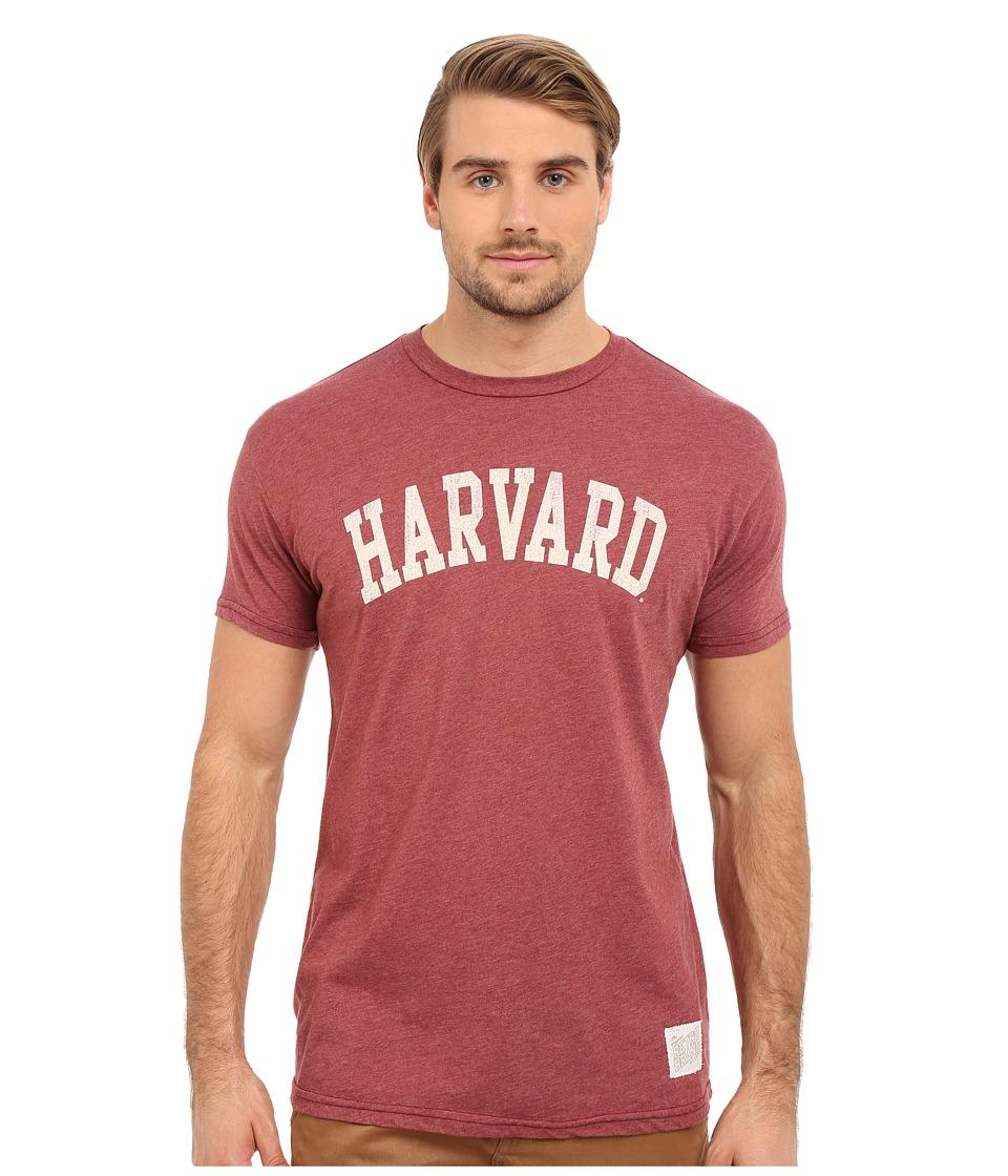 The Original Retro Brand - Short Sleeve Heathered Harvard Tee (Heather Burgundy) Men's Short Sleeve Pullover