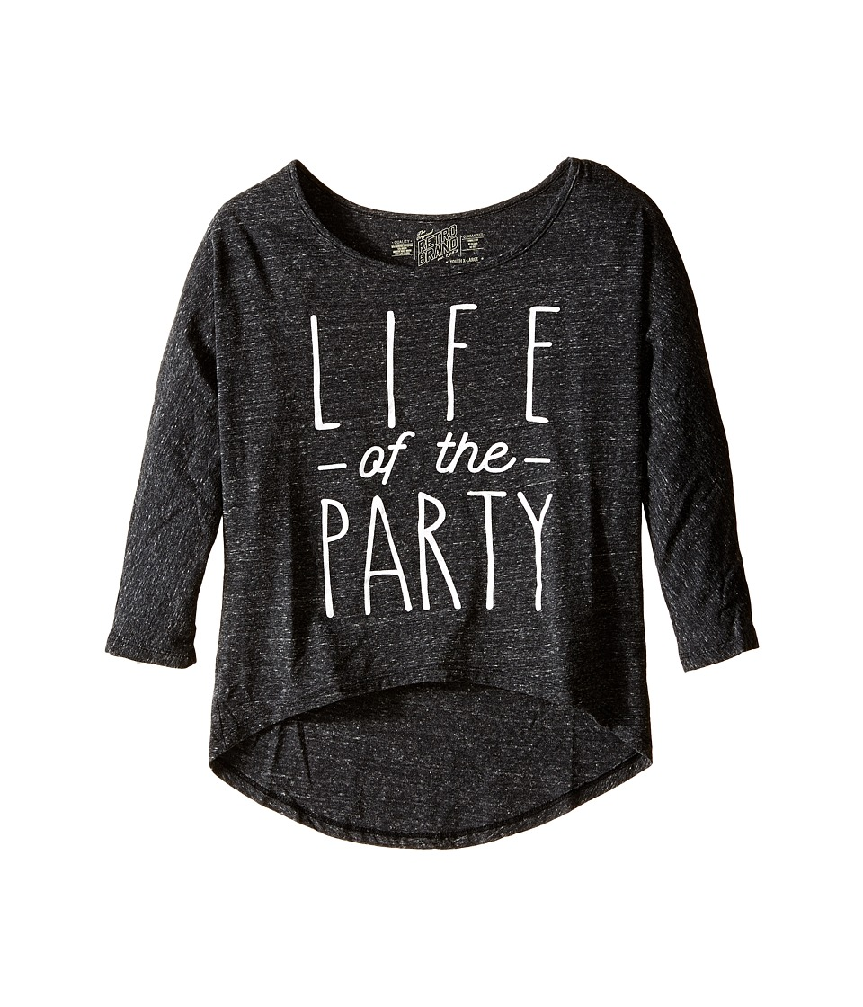 The Original Retro Brand Kids - Life of the Party Triblend Dolman (Little Kids/Big Kids) (Streaky Black) Girl's Long Sleeve Pullover