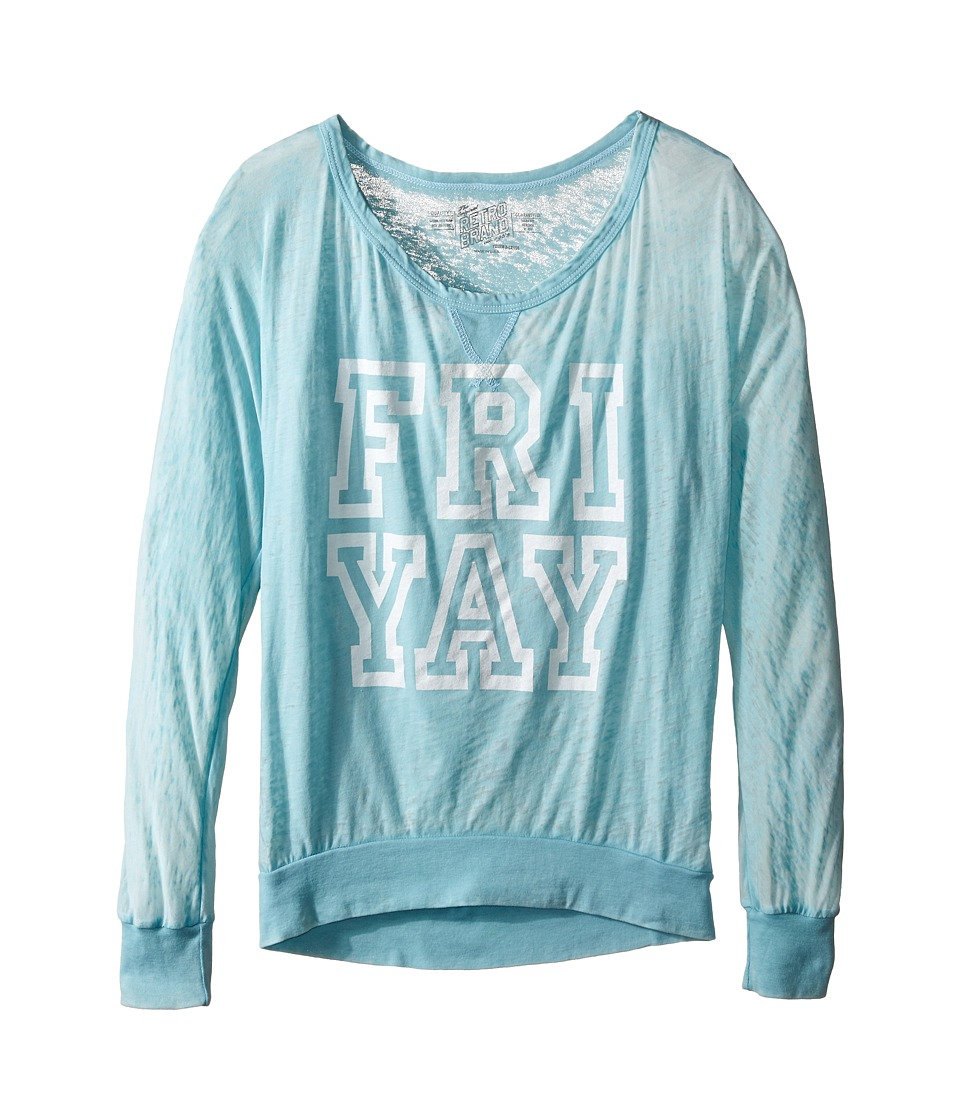 The Original Retro Brand Kids - Fri Yay Burnout Pullover (Little Kids/Big Kids) (Light Blue) Girl's Sweatshirt